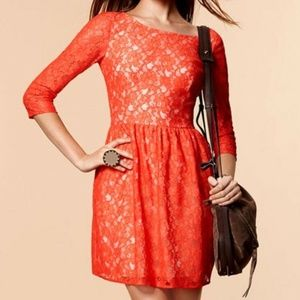 French Connection Orange Lizzy Lace Dress 12